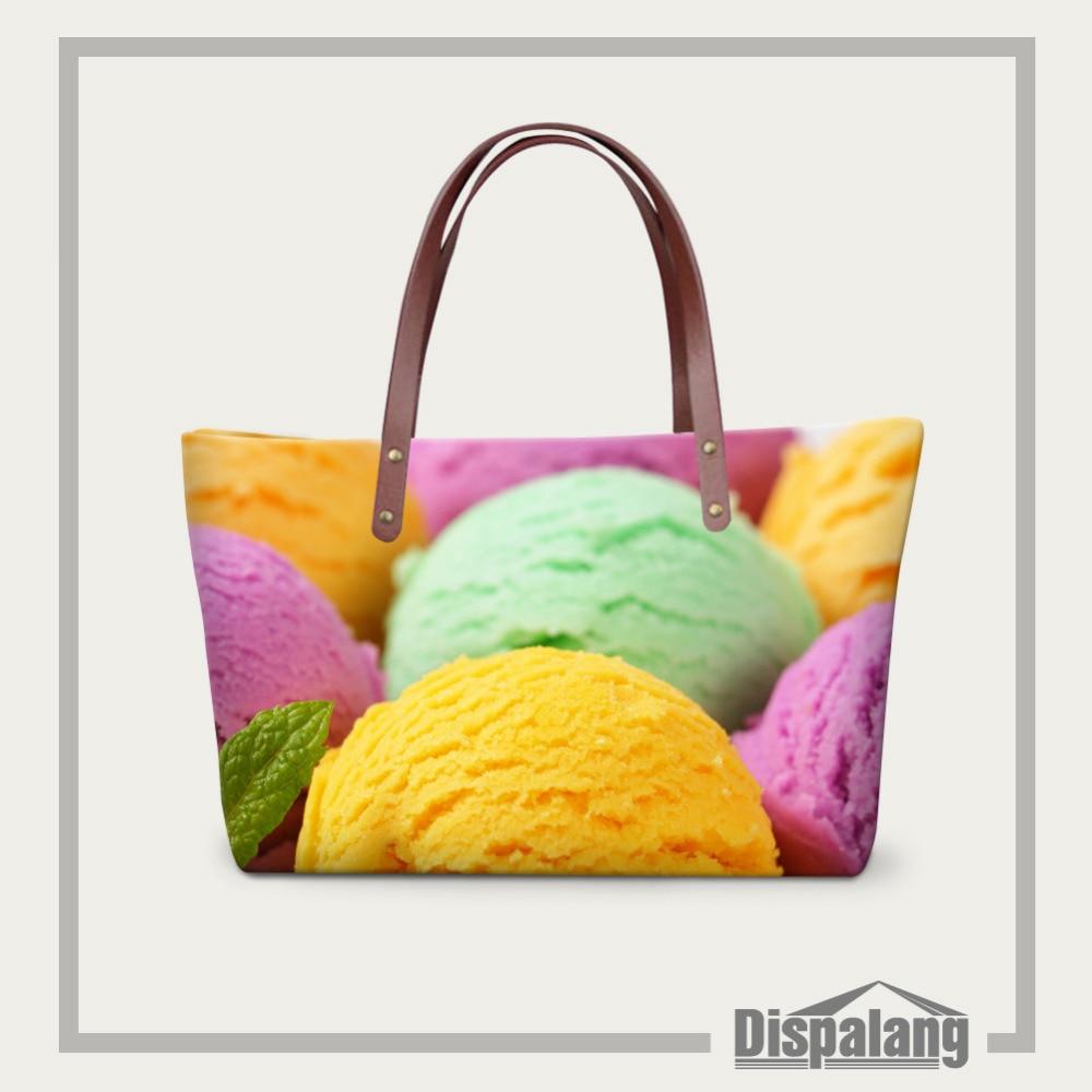 Dispalang Women Messenger Bag Ice cream Print Handbags Large Capacity Shoulder Bag Ladies Beach Bag Shopping Bag Bolsa Femininas