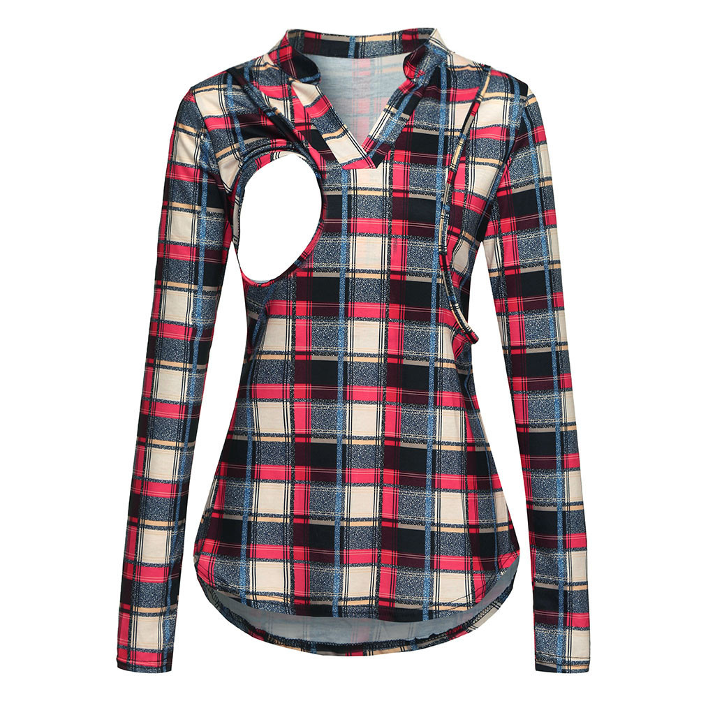 Winter Nursing Top Breastfeeding Casual Long Sleeve Women Mom Pregnant Nursing Baby Maternity Plaid T-shirt Tops Blouse Clothes