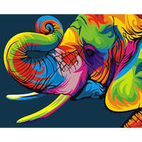 Painting By Numbers DIY Dropshipping 40x50 50x65cm Auspicious Color Elephant Animal Canvas Wedding Decoration Art picture Gift