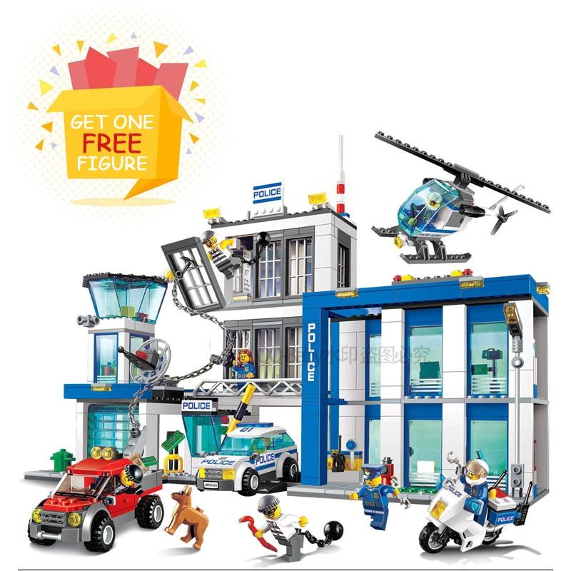 цена на Bela Pogo Compatible Legoe 10424 890pcs+ Station Helicopter Jail Cell Urban Police City Building Blocks Bricks toys for child