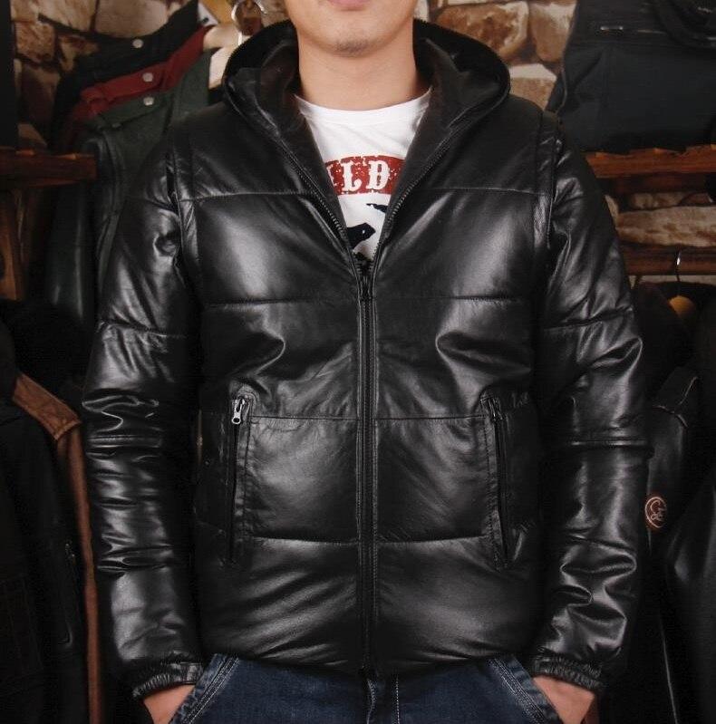 Darmowa wysyłka. DHL Brand new man zimowe ciepłe miękkie kurtka z owczej skóry, męskie 100% kurtka z prawdziwej skóry. odpinany bawełna płaszcz w Płaszcze ze skóry naturalnej od Odzież męska na  Grupa 1
