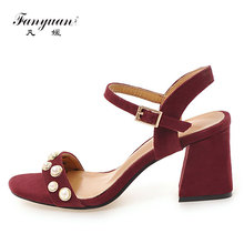 2017 Fanyuan Europe Sexy Thick Heel Pearl Sandals Women Peep Toe Sandals Woman Casual Shoes Faux Suede Buckle High Heels Sandals