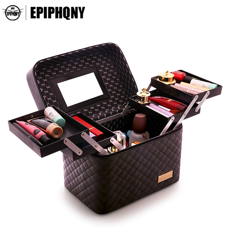 Professional Women Large Cosmetic Bag Necessaries Portable Functional Make Up Box Travel Toiletry Storage Pouch Female