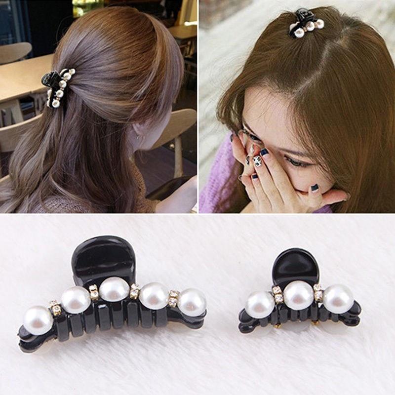 Fashion Black Hair Clips Claws Artificial Diamond Pearl Plastics   Headwear   for Women Girls Party Festival Elegant Hairclips Pins
