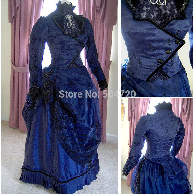 Freeshipping! R-155 19 century traje do Vintage 1860 S Lolita vitoriana / guerra Civil Southern Belle Ball vestidos de Halloween todo o tamanho