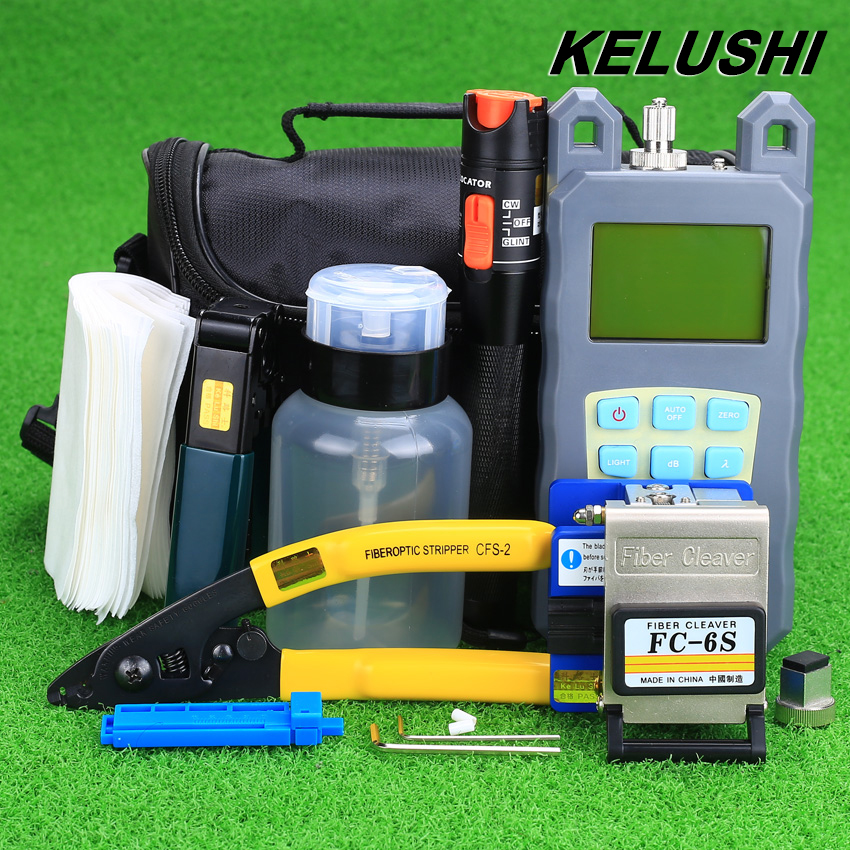KELUSHI 19pcs set FTTH Tool Kit with FC 6S Fiber Cleaver and Optical Power Meter 10mW