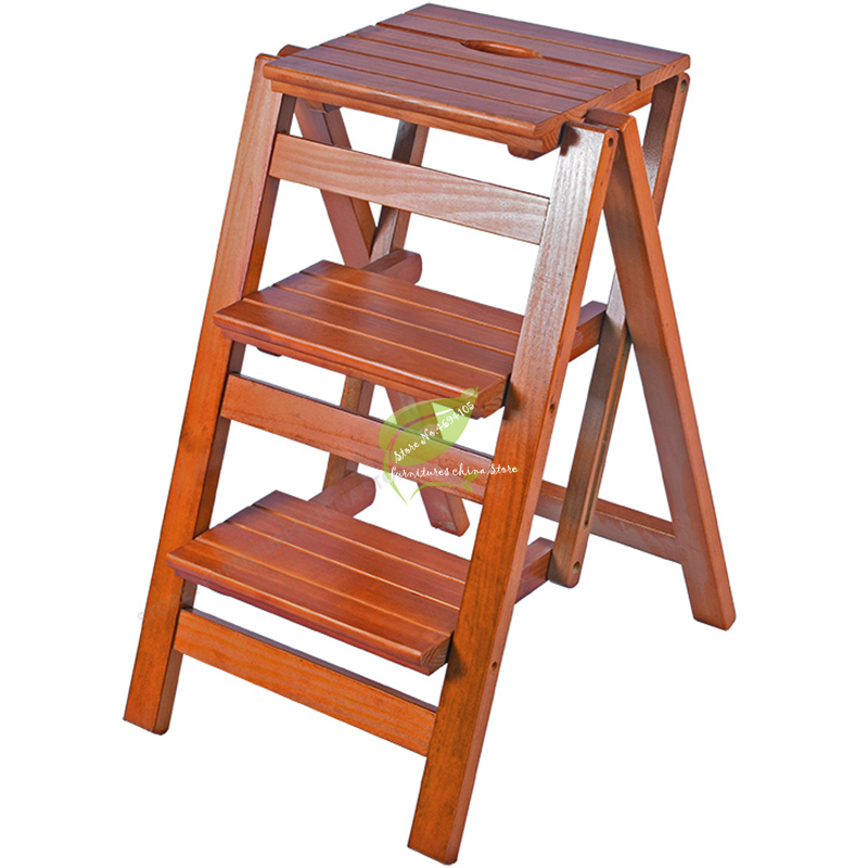 Durable Household Multi Function Step Ladder Stool Foldable Solid Wood Three   Indoor Climbing Wooden