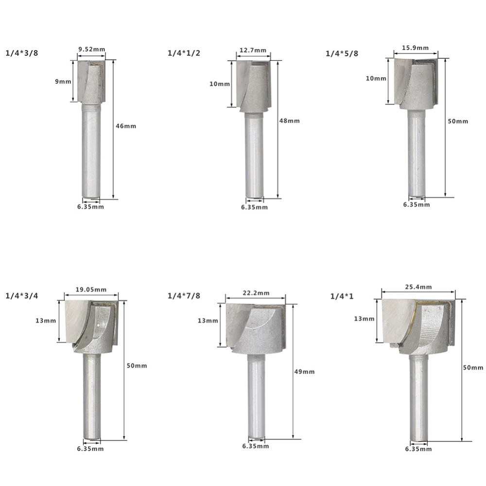 "TCT Double Flute Router Cutter 1//2/"" shank 1/""  D x  1 1//4/"" L//C 72mm O//L"