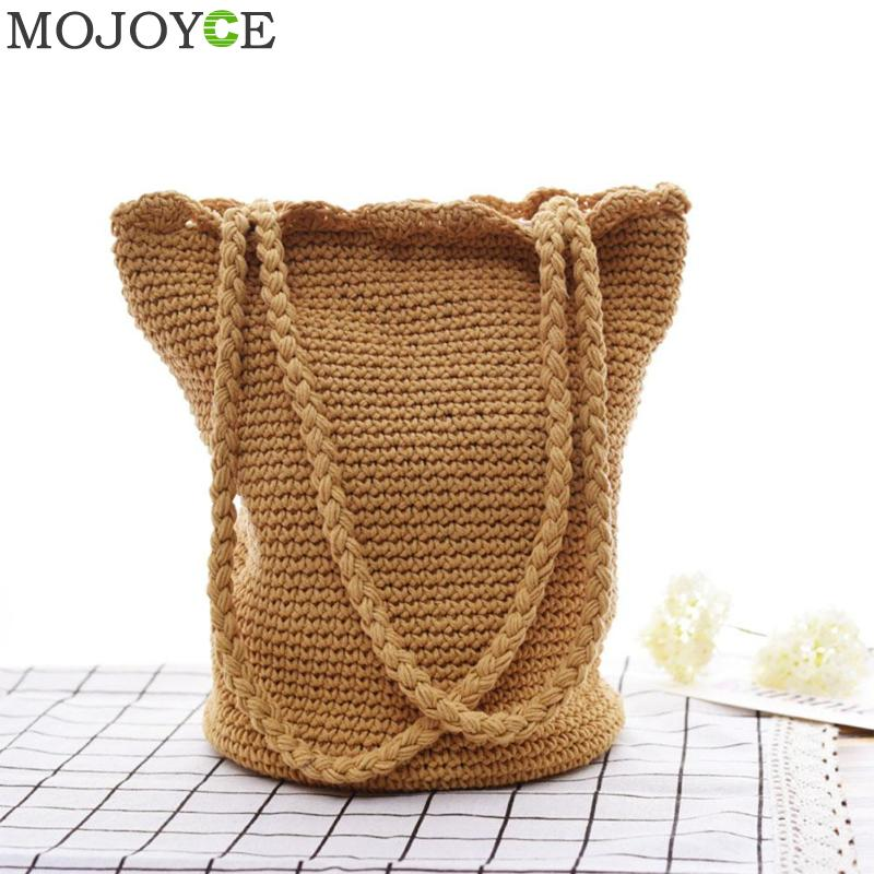 Summer Women Beach Bag Handmade Straw Bags Female Drawstring Tote Basket Handbags Casual Travel Accessories Gift For Girl