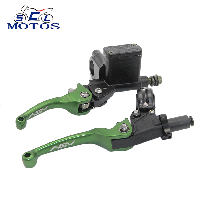 Sclmotos- ASV CNC Folding Brake Lever Clutch Lever with Front Pump Fit Most Motorcycle Dirt Pit Bike Motorcross CRF KLX YZF купить