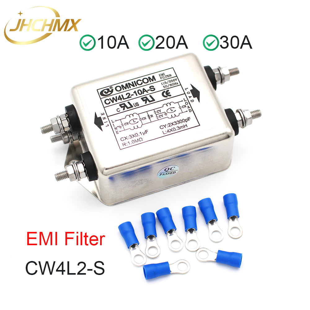 JHCHMX High Quality Power EMI Filter Single Phase Double-section CW4L2-10A20A/30A-S 220V 50/60HZ For Co2 Laser Cutting Machines