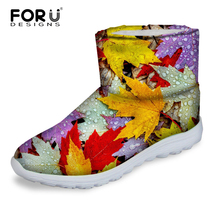 FORUDESIGNS Women's Warm Snow Boots 3D Maple Leaf Pattern Women Casual Cotton Boots Shoes Ladies Ankle Rain Boots Flats Mujer