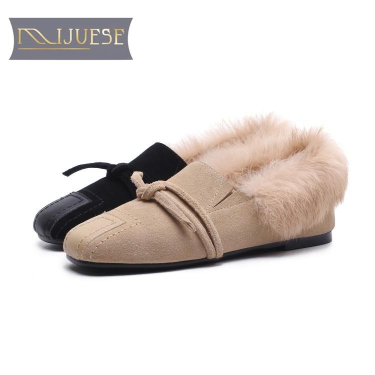2fa52bcf682da Confortable 42 Mljuese Rond Cheveux Appartements Femmes Lapin Taille Black  Chaussures En 34 Printemps Casual 2018 ...
