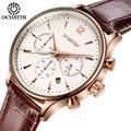 Fashion Top Brand Mens Business Watches Luxury Waterproof Chronograph 24 Hours Watch Leather Sport Quartz Wristwatch Male Clock
