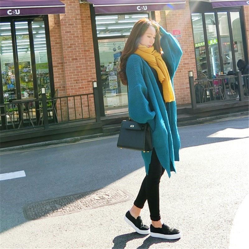 Woherb 2019 Koreanische Lange Strickjacke Frauen Lose Plus Größe Winter Mantel Laterne Hülse Elegante Lange Pullover Sueter Mujer 20349