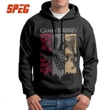 Vintage Hoodies Man Game Of Thrones Men House Stark Printed Hooded Sweatshirts Targaryen Lannister 100% Cotton Black Tops