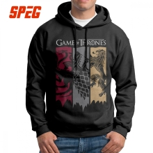 SPEG Vintage Hoodies Game Of Thrones Men House Printed Hooded Sweatshirts 100% Cotton