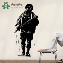 Wall Decor Military Decals Art Army Solider wall decals sticker soldier silhouette Boys Teens Bedroom Poster NY-79