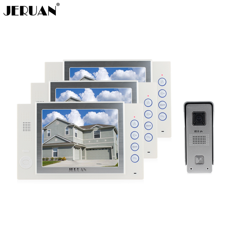 JERUAN 8 inch video door phone intercom system doorbell doorphone hans-free speaker intercom video recording photo taking