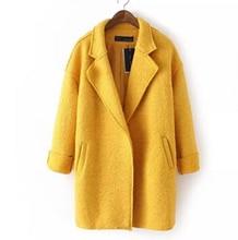 New Winter Women clothes Korean Dress Lapel Paragraph Solid color Bat long Sleeve Loose Woolen coat All-match warm Wool jacket(China)