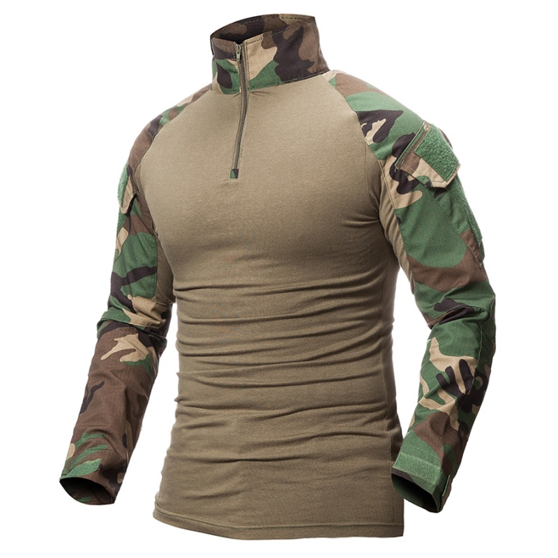 Camouflage Mens Camo Army Woodland Long Sleeve Top Hunting ShootingT Shirt