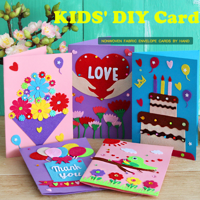 DIY Handmade Greeting Cards Children Handmade Non-woven Material Craft Toys Kids Creative 3D Puzzle Toy Educational Toys(China)