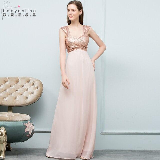 2018 Y Rose Gold Sequin Chiffon Bridesmaid Dresses Off Shoulder Long Wedding Party Robe Demoie