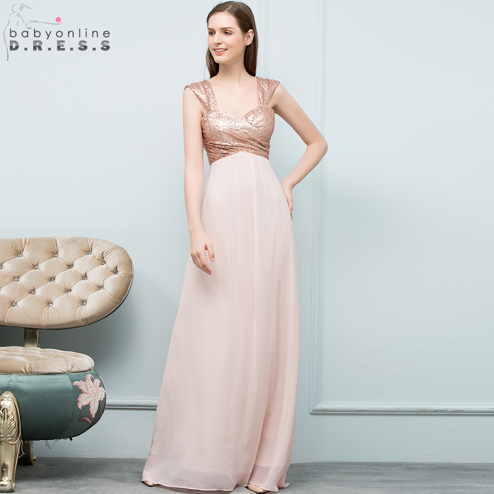 2019 Sexy Rose Gold Sequin Chiffon   Bridesmaid     Dresses   Off Shoulder Long Wedding Party   Dresses   robe demoiselle d'honneur