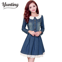 Wholesale Fashion new work dress,Lace denim dress long sleeved women's jeans dress free shipping