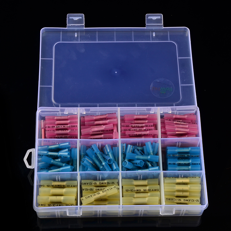 200PCS Female&Male Heat Shrink Terminal Butt Crimp Cable Wire Connectors Insulated waterproof Shrinkable Terminals 0.5-6.0mm2 240pcs lot female male spade connectors 600v heat shrink wire cable connector kit insulated crimp terminals waterproof