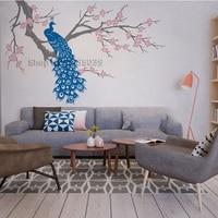 Nature Design Wall Mural Nursery Wall Sticker Home Decor Cherry Blossom Branch with Peacock Art Livingroom Sofa Background LC509