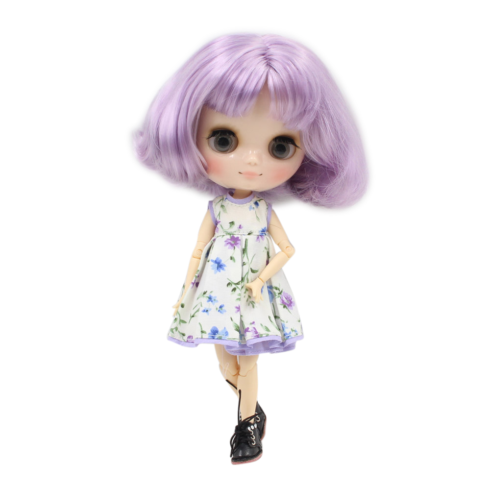 Middie blyth doll BL2137 1049 Fashion purple volume short hair 20cm joint body gray eye middle