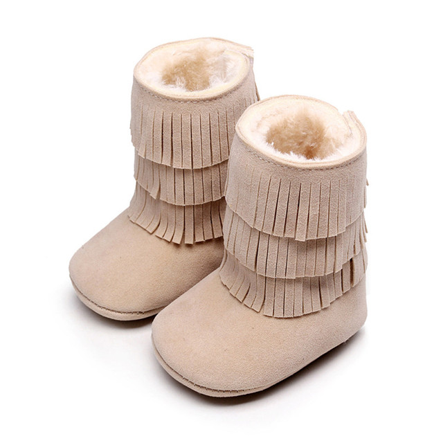 8 Colors New Winter Soft Bottom Baby Suede PU Fringe Warm Cotton Plush Boots For Girls Boys Newborn Infant Toddlers Shoes