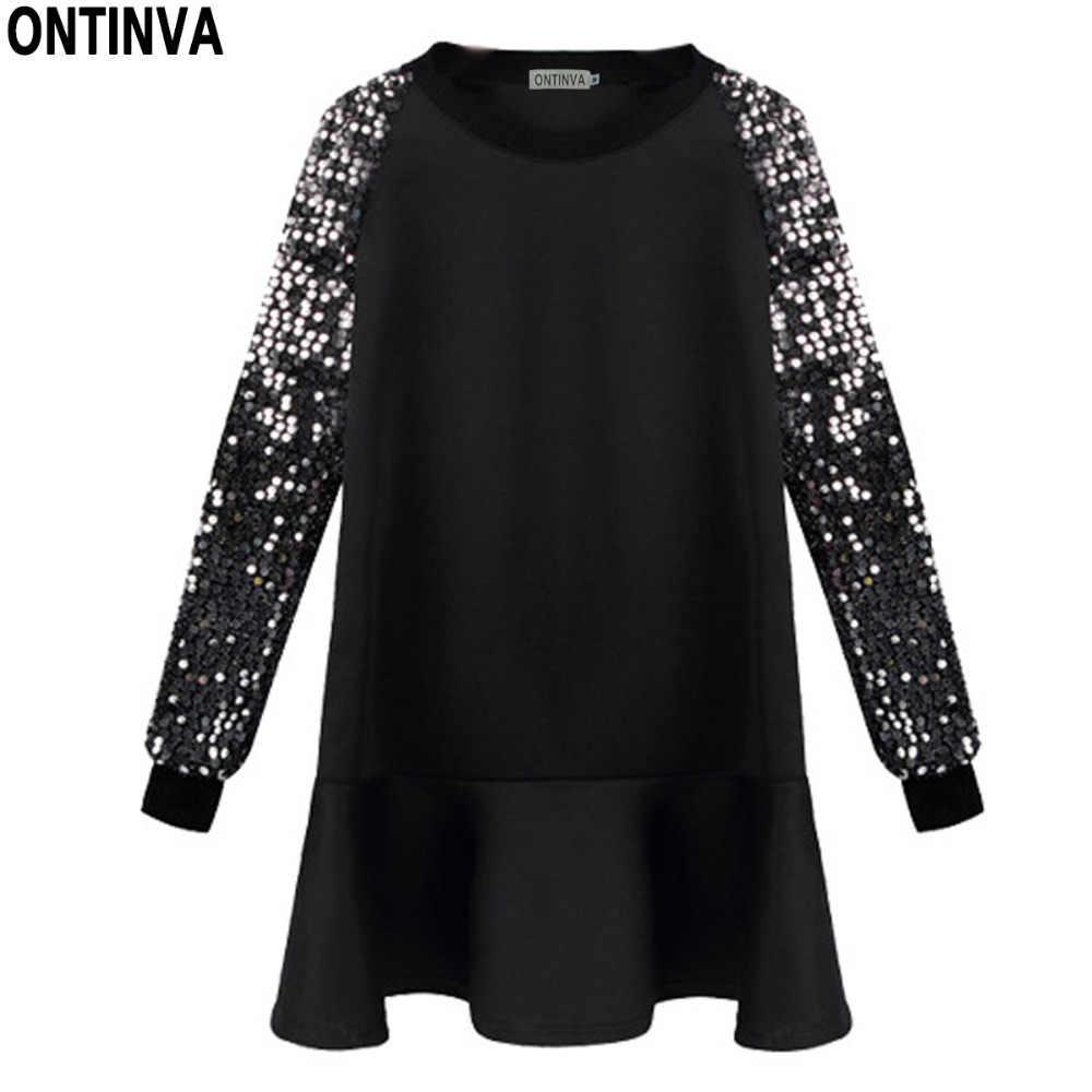 d65343c568d Для женщин Pailltte Черный свободное платье Для женщин Зима плюс Размеры  5XL длинный рукав халаты с