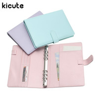 Kicute Candy Color A6 Leather Loose Leaf Refill Notebook Spiral Binder Planner Replacement Cover 6 Hole