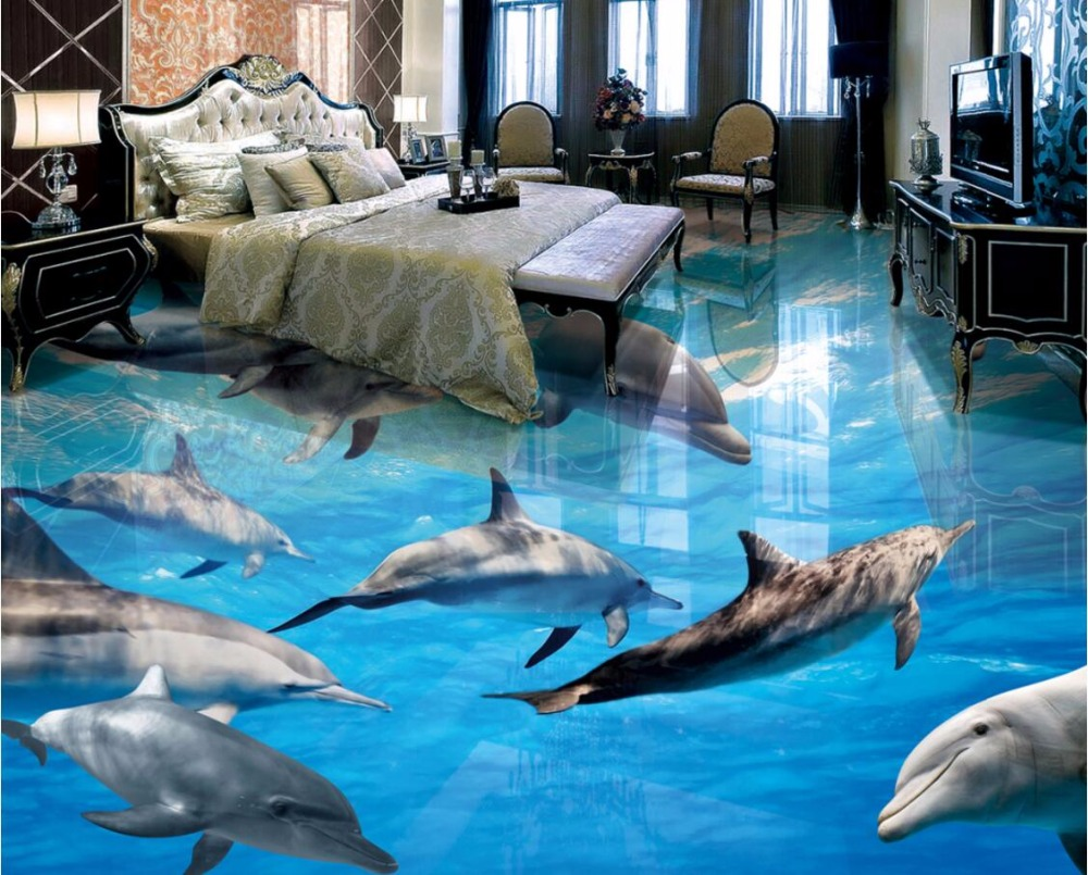 WDBH custom mural 3d flooring pvc self adhesive wallpaper Sea world dolphin picture home decor painting 3d wall murals wallpaper stylish dolphin pattern 3d wall sticker for home decor