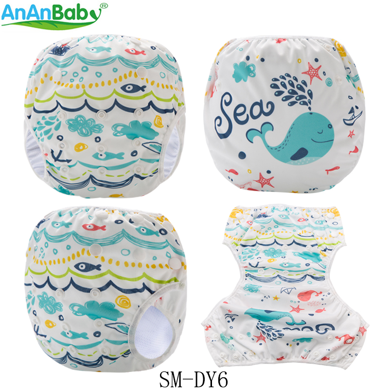 New Arrival!2018 Baby One Size Swim Diapers Adjustable Washable Nappies Pool Pant Swim Cloth Diaper Cover for baby 5-12KG