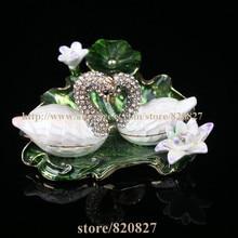 Faberge Style Swan Trinket Box Swan Box Crystals Trinket, Keepsake, Pill Box Figurine Handcrafted Crystal Swan Trinket Box