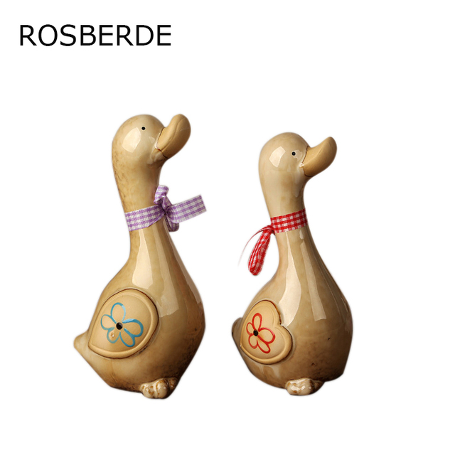2pc/set Ceramic craft Lovers duck Butterfly duck home decor home and garden office decoration beautiful gift porcelain ornaments