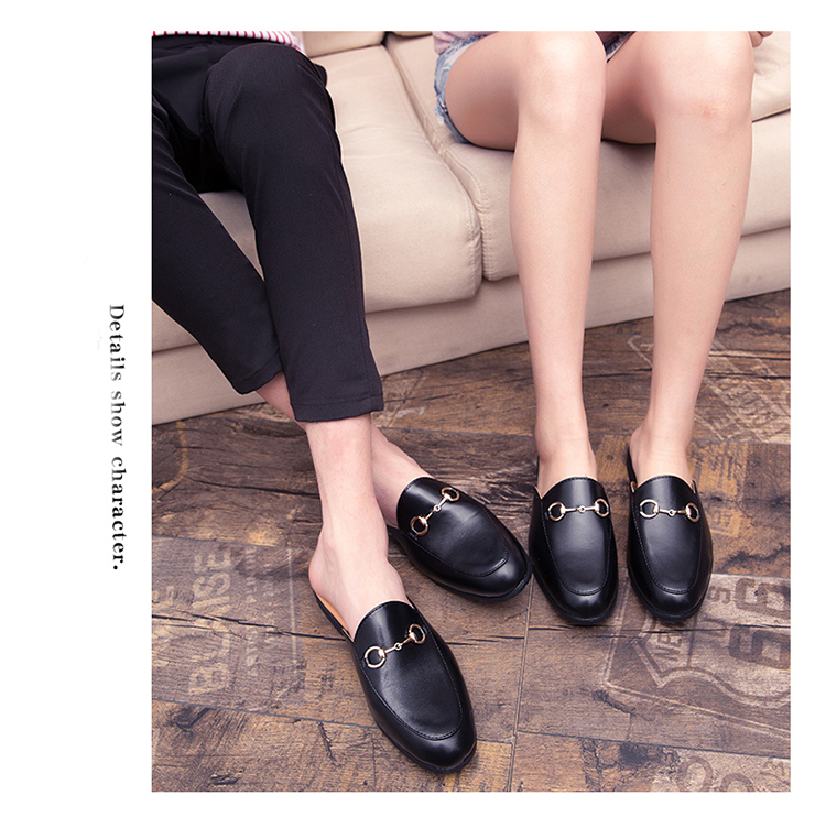 Men Backless dress leather slipper shoes Men unisex Bee prints Horseshoe buckle Casual business wedding Leather shoes women 15