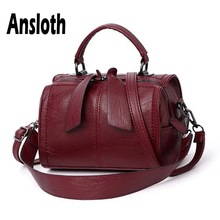 Ansloth Solid Color Barrel-shaped Bag Women Quality PU Leather Handbag Ladies Classic Shoulder Bag Female Hand Bag Tote HPS636