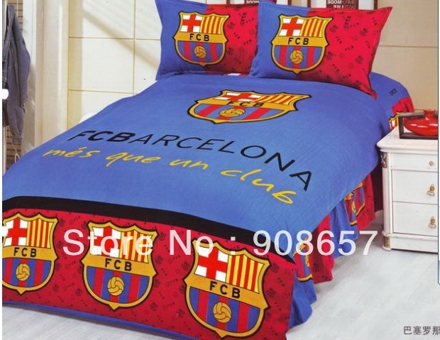 Red Blue Fcb Foot Ball Club Arcelona Single Twin Full Bedding Bed In A Bag Cotton Reversible Duvet Sheet Cover Comforter Set Sets From Home