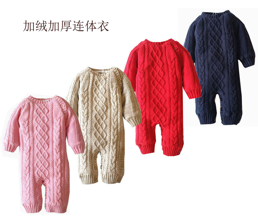16cddfa296e1f 2016 children boys girls woolen velvet one piece suit long sleeve romper  baby infant winter warm jumpsuit coverall newborn coat-in Rompers from  Mother & ...