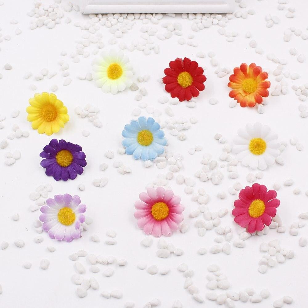 100 Pcs Small Silk Handmade Sunflower Artificial Flower
