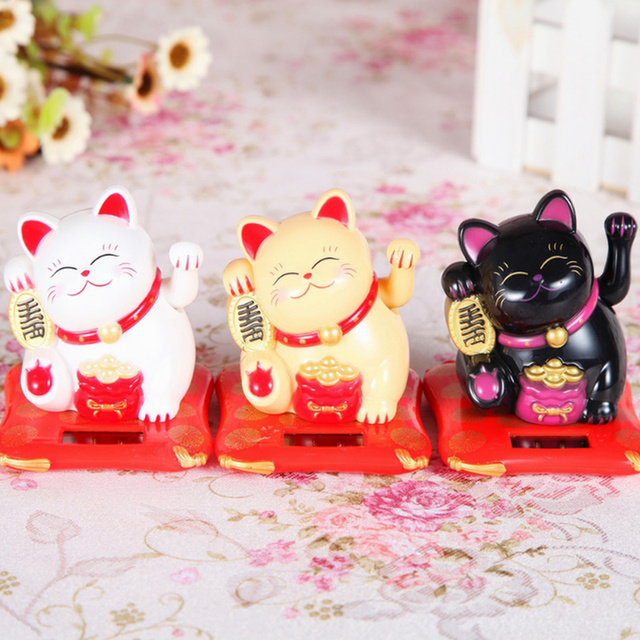 Fashion Black/White Solar Powered Maneki Neko Welcoming Fortune Cat Lucky for Home Car Hotel Restaurant Decoration Craft 5