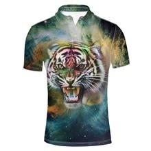 FORUDESIGNS Animal Galaxy Print Polo Shirt Men Summer Short Sleeve Breathable Male Collar Tee Fashionable Tops Tiger Lion Print men abstract animal print tee