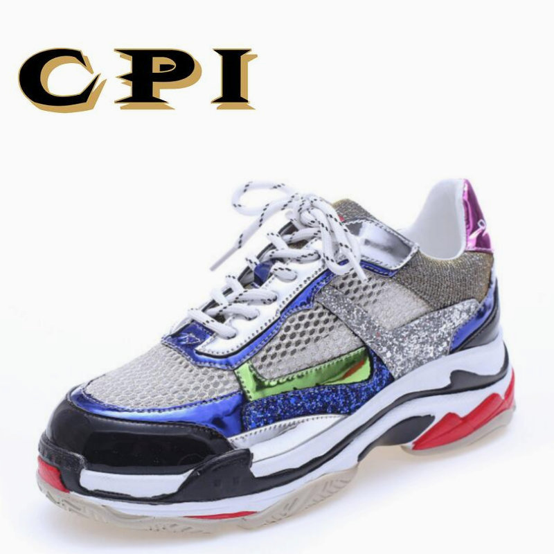 CPI Spring Women Sneakers Genuine Leather Shoes For Women Fashion Lace-up Flat Platform Shoes Mixed Colors Casual Shoes KK-36 gogc 2018 new style women shoes with hole breathable women flat shoes women sneakers casual shoes summer spring lace up footwear