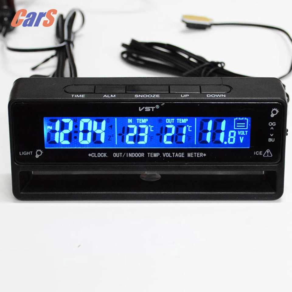 3 in1 LCD Dislay Auto Car Clock  Car Digital Thermometer Vehicle Voltmeter Monitor Car Accessories