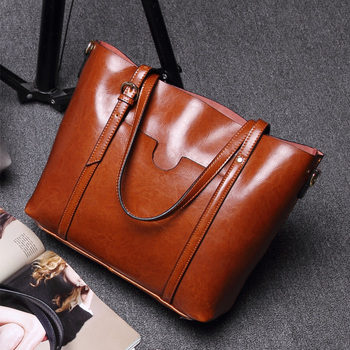 QIAOBAO 100% leather handbags Oil wax cowhide ladies shoulder bag fashion 2019 new leather handbags big totes