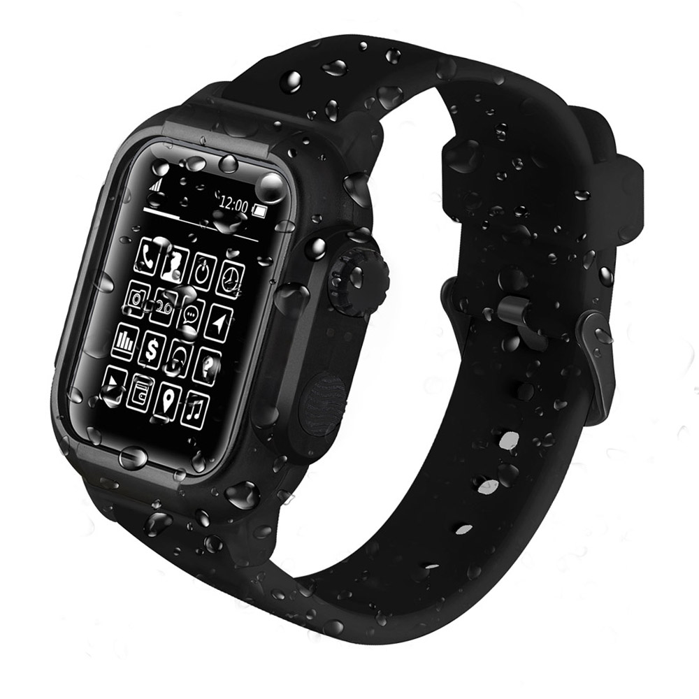Silicone Sport Waterproof Cover Case for Apple Watch Series 4 3 2 with Replacement Strap 42mm 44mm 40mm WatchBand Accessories цвета apple watch 4